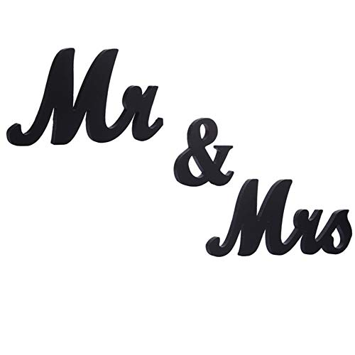 WEBI 27'' x 6'' Mr and Mrs Sign Wedding Table Decorations-Glitter,Adorable,Gorgeous, Vintage -Sparkly Mr Mrs Wooden Letters Wedding Sign for Sweetheart Table Decorations, Newlywed Table,Black
