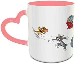 إبريق قهوة IMPRESS بتصميم توم وجيري من السيراميك بمقبض على شكل قلب أبيض ووردي 1001