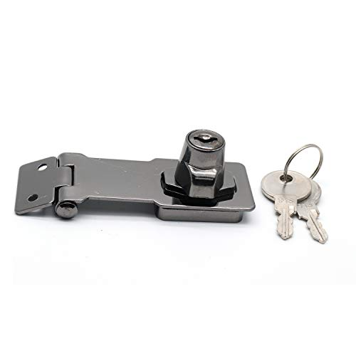 Rannb 3 Inch Black Twist Knob Keyed Locking Hasp Safety Hasp for Gate & Cabinets