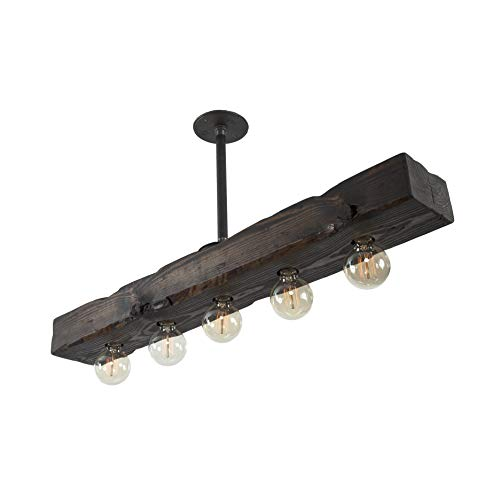 West Ninth Vintage Fayette Recessed Wood Beam Chandelier - Indoor Downlight for Farmhouse Home Decor - Kitchen Island, Bar, Dining Room, Pool Table -