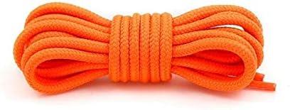 XJYWJ 1Pairラウンド靴ひもポリエステルソリッドクラシックマーティンブーツ靴ひもカジュアルスポーツブーツの靴レース90センチメートル/ 120センチメートル/ 150センチメートル21色 (Color : Orange, Size : 120CM)