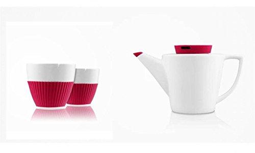 KUSMI - ANYTIME Fuschia Porcelain Tea Set 1Lt / 33.81oz and 2 Cups (Pot Coffee Dor)