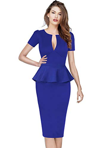 VFSHOW Womens Solid Blue Deep V Neck Peplum Slim Cocktail Party Bodycon Sheath Dress 2777 BLU XXL