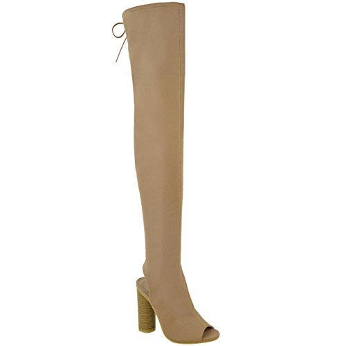 Fashion Thirsty Womens Sexy High Heel Thigh Boots Over The Knee Lace Party Stretch Size 8
