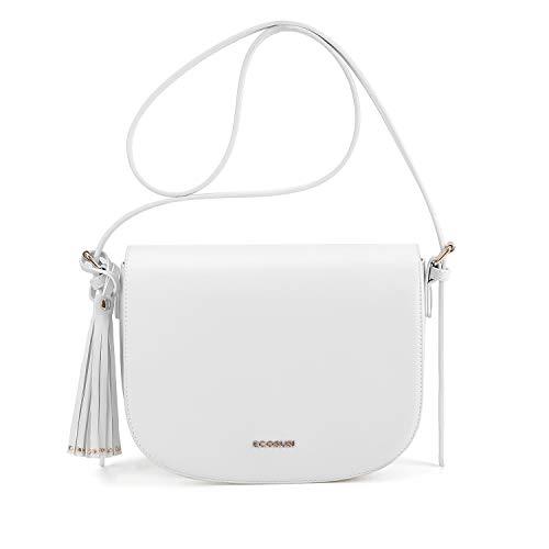 ECOSUSI Women's Saddle Crossbody Bag Shoulder Purse with Tassel and Front Pocket, Beige -