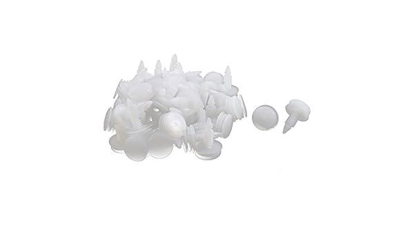 Amazon.com: eDealMax Junta de la puerta Blanca de plástico 50Pcs del clavo del remache Mat Clip: Automotive