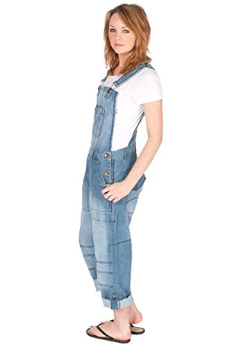 Relaxed Fit Coverall (Womens - Relaxed Fit Bib Overalls - Light Wash Womens Mens Denim Dungarees Bib O)