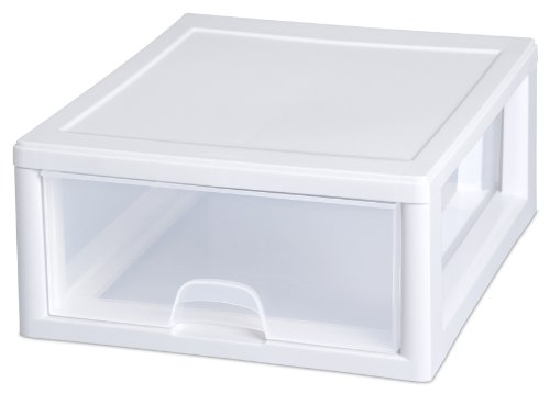 Sterilite 23018006 16 Quart/15 Liter Stacking Drawer, White Frame with Clear Drawers, 6-Pack