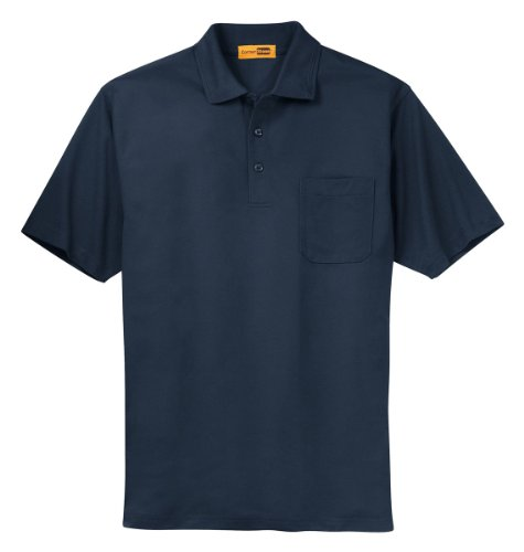 Pocket Pique Polo Shirt - CornerStone Industrial Pocket Pique Polo Shirt, Navy, 3X-Large