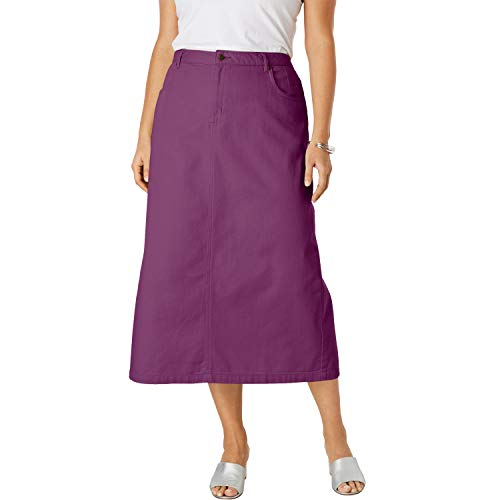 Jessica London Women's Plus Size Classic Cotton Denim Long Skirt - Dark Berry, 20