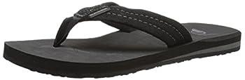 Quiksilver Men's Carver Suede 3-point Flip-flop, Solid Black, 14 M Us 0