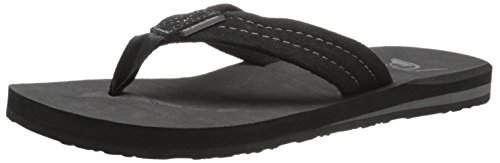Quiksilver Men's Carver Suede 3-Point Flip-Flop, Solid Black, 8 M US Quiksilver Mens Point