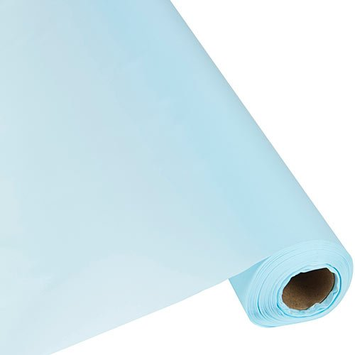 Plastic Party Banquet Table Cover Roll - 300 ft. x 40 in. - Disposable Tablecloth (Light Blue)
