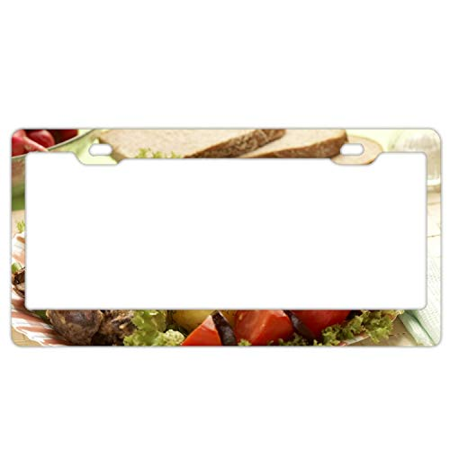 Personalized License Plate With Potato Meat Tomato Salad Fennel Greens Bread - License Plates Auto Car Tag - Metal For Front Of Car License Plate Covers