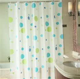 Eco-friendly Waterproof Dimensional Colored Round Pattern Bathroom Shower Curtain Set with Hooks