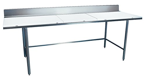 3084 Work Table Backsplash - Winholt DPTB-3084 STANDARD Series Stainless Steel Poly Top Work Tables, Open Base with Backsplash, 84