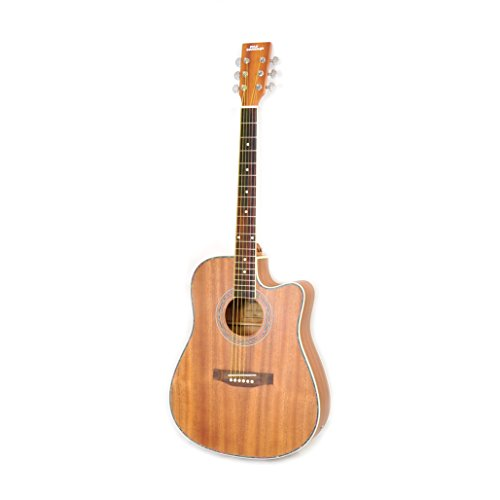 "Pyle Dreadnought Acoustic-Electric Cutaway Guitar - 41"" 6 String Mahogany Wood-Grain Style w/Built-in Preamplifier"