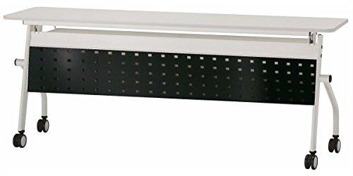 会議テーブル 跳ね上げ式 W1800×D600×H720 天板ホワイト色 幕板付き スタックテーブル GD-574M (ブラック) B0113DRPRI ブラック ブラック