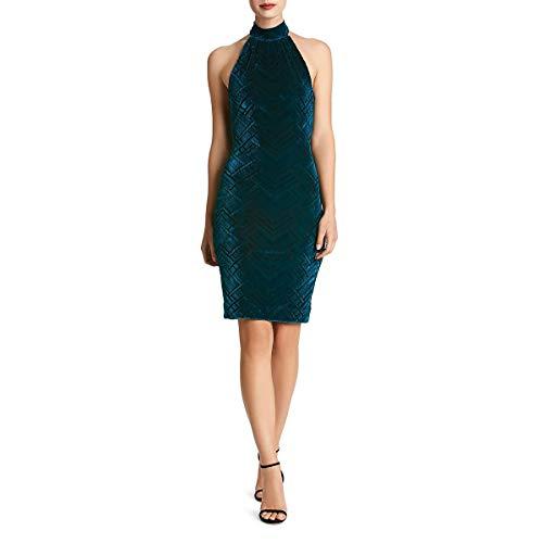 Dress the Population Womens Avery Halter Velve Cocktail Dress Blue ()