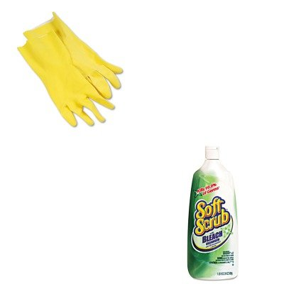 KITBWK242LDPR01602 - Value Kit - Soft Scrub Disinfectant Cleanser (DPR01602) and Galaxy 242L Yellow Reusable Flock Lined Gloves, Large (BWK242L)