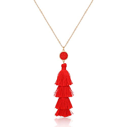 Seni Layered Tassel Pendant Necklace Bohemian Tiered Thread Fringe Necklace Long Necklaces for Women Girls(Red)