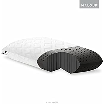 Z Zoned Dough Memory Foam Bed Pillow Infused with Bamboo Charcoal, Queen, Mid Loft