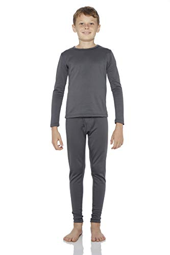 Rocky Boy's Fleece Lined Thermal Underwear 2PC Set Long John Top and Bottom (S, Charcoal)