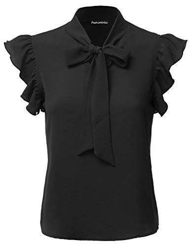 FASHIONOLIC Women's Casual Cap Sleeve Bow Tie Blouse Top Shirts (PSALM23) Black S