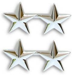 Navy Admiral 2 Star Collar Device Rank Insignia Pair