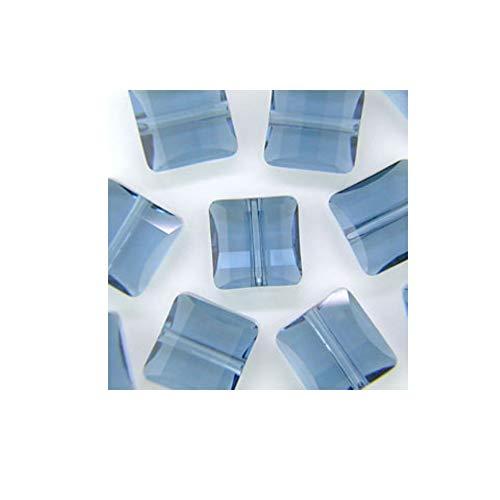 Swarovski Article #5625 2 Hole Crystal Stairway Beads Denim Blue Color 14mm - Package of 6 14 Mm Stairway Bead