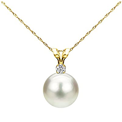 14K Gold Chain Freshwater Cultured Pearl Pendant Necklace Diamond Jewelry for Women 1/100 CTTW