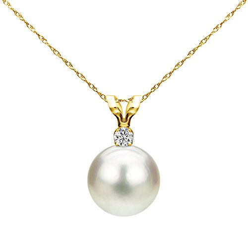 White Saltwater Cultured Japanese Akoya Pearl Diamond Pendant Necklace 14K Yellow Gold 1/20 CTTW ()