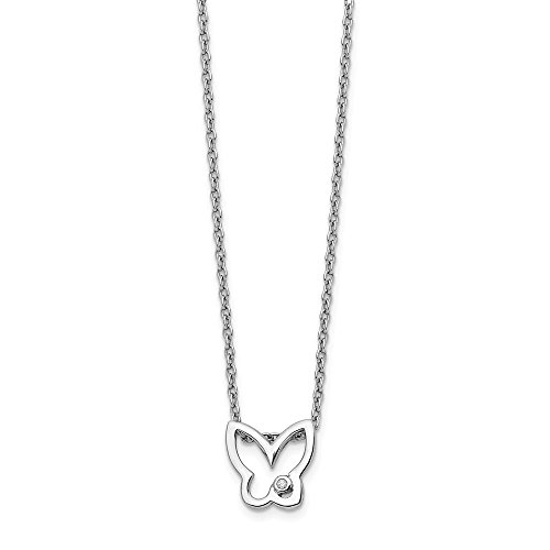 (925 Sterling Silver Diamond Butterfly Chain Necklace Pendant Charm Animals/insect Fine Jewelry Gifts For Women For Her)