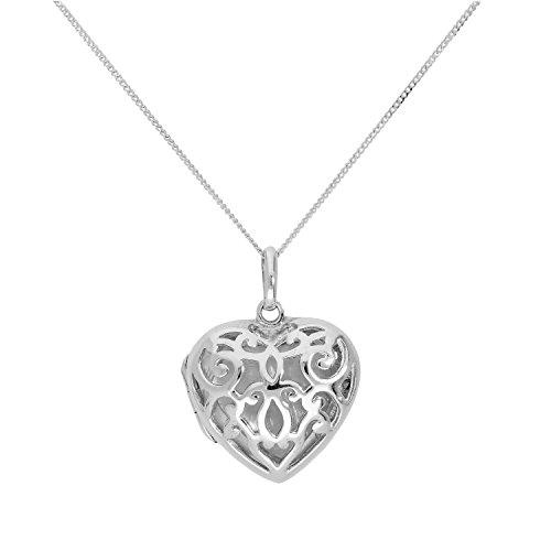 Design Silver Locket - jewellerybox Sterling Silver Engravable Heart Locket w Open Swirls Design on 22 Inches Chain