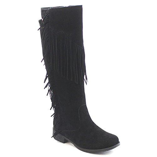 Black Suede Dress Boots Fringe Knee 01 Women's BREEZE Side NATURE Zipper High RILEY xwgqO1qPH