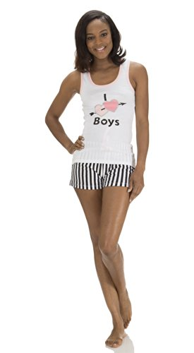 UPC 789828078551, (4982DH) Dollhouse Juniors I Love Boys Tank Top and Shorts Set (Small-3X) in White Size: 3X