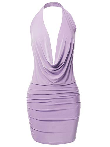 (Made by Emma Sexy Halter Neck Ruched Bodycon Backless Party Cocktail Mini Dress Lavender M)