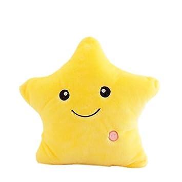 Rainbow Fox Nuevo Vistoso Brillante LED Luminoso Estrella Almohada Suave Cojines Felpa Juguetes Kids Regalos Hada Cuento Decoración (amarillo)