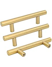 goldenwarm 5 Pack Brushed Brass Cabinet Handles 3in Cupboard Drawer Door Handle Pull - LS201GD76 Knob for Furniture Kitchen Hardware 3in Hole Center 5in Overall Length