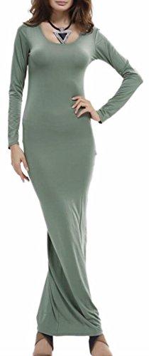 Alion Slim Femme Profonde V Cou Manches Longues Froncé Robes Moulantes Vert