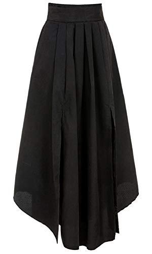 Bodycon4U Women's High Slits Bow Tie Summer Beach High Waist Shirring Maxi Skirt Pockets Black M by Bodycon4U (Image #4)