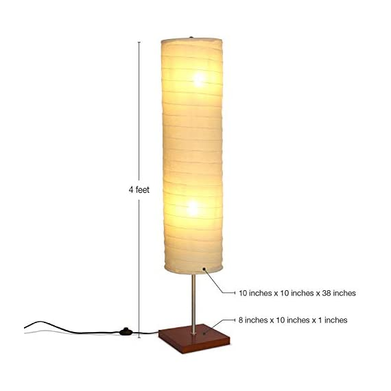 Brightech - Serenity LED Floor Lamp for Living Rooms & Bedrooms – Mid Century Modern Minimalist, Ambient Light – Perfect for Beside The Bed or Office, Corner Lamp - Havana Brown - GORGEOUS MODERN LAMP THAT LOOKS GREAT WITH ANY DÉCOR: The Serenity LED Floor Lamp looks beautiful amid contemporary, mid century modern, or industrial décor. It has an extended open top and a neutral linen cylinder shade that hovers over a symmetric square base (9 x 9 inches) of solid Havana Brown wood. The unique modern style and size of this lamp makes it the perfect corner, bedside, office, or living room lamp. BEAUTIFUL WARM LIGHT FOR HOME OR OFFICE: The Serenity Lamp lives up to its name! It gives off warm, serene light that will create a cozy and comfortable space for any room in your home or office. This lamp is the perfect couch or bedside lamp that gives off soft beautiful lighting to enlighten your bedroom, living room, den, nursery, meditation room, or office. This lamp does not have the glare of overhead lights or exposed bulbs as its neutral linen shade softens the light giving your room a wa LONG LASTING & ENERGY SAVING INDOOR LAMP: Included in the Tranquility's package are two 5 Watt power saving LED light so that you will never have to replace a bulb. The advanced 2,700K warm white LED technology with 550 lumens for each bulb allows this lamp to outshine lamps that depend on short lived, energy consuming standard halogen or incandescent bulbs. This LED lighting will endure for more than 20 years without burning out or overheating. - living-room-decor, living-room, floor-lamps - 31le4irgv%2BL. SS570  -