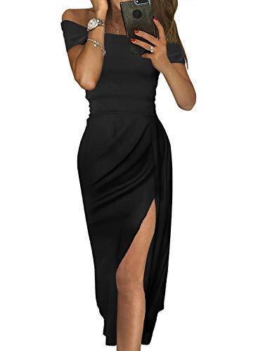 ZKESS Women Off Shoulder Bodycon High Waist Ruched High Slit Dress Cocktail Party Wedding Dresses Black Medium