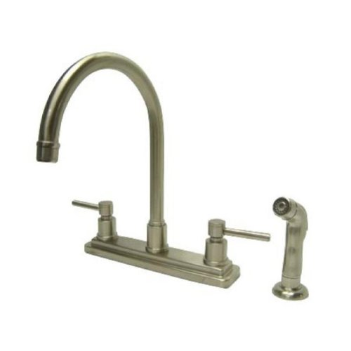 Kingston Brass KS8798DL Concord Twin Lever Handles 8-Inch Kitchen Faucet With Matching Finish Sprayer, Satin Nickel - Sprayer Satin Nickel Finish