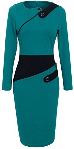 Manches Turquoise HOMEYEE Femme Longues Robe B231 Moulante BvUvEx