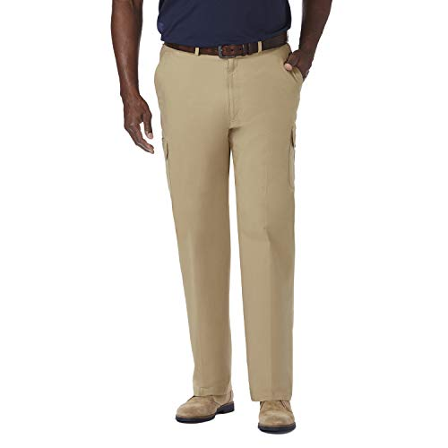 Haggar Men's Big-Tall Stretch Comfort Cargo Expandable Waist Classic Fit Plain Front Pant, Khaki, 56x32