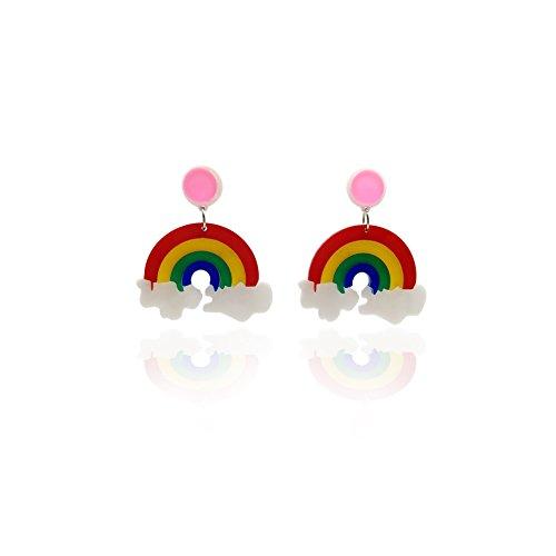 COLORFUL BLING Big Acrylic Rainbow earring cute drop dangle earrings for girls women ()