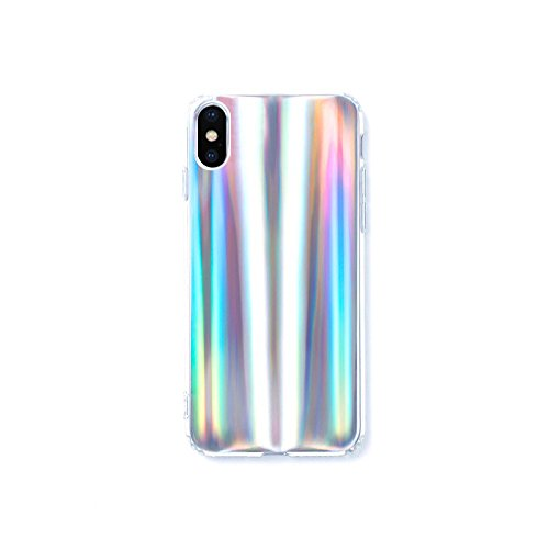 iPhone X Case, ENCHICAS Holographic Glitter Sparkle Slim Soft Gel Cell Phone Cases for Girls Women [Supports Wireless Charging] for iPhone X/iPhone 10 (2017 Release)