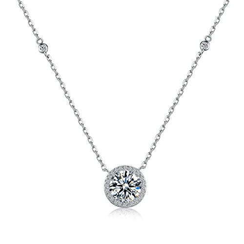 (It's a circle Rhodium Plated Sterling Silver Round Solitaire Cubic Zirconia CZ Halo Pendant Necklace Gift (Silver Basic 2.5ct))