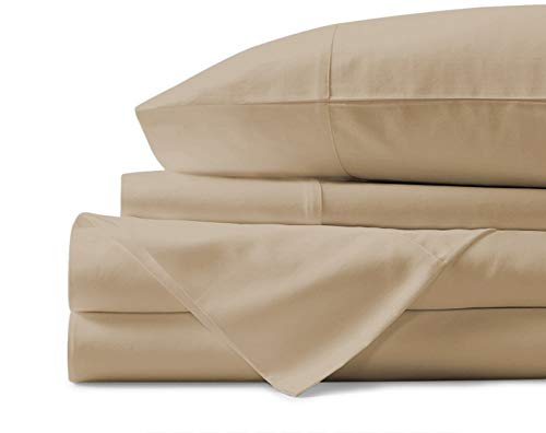 Mayfair Linen 100% Egyptian Cotton Sheets, Sand Queen Sheets Set, 800 Thread Count Long Staple Cotton, Sateen Weave for Soft and Silky Feel, Fits Mattress Upto 18'' DEEP Pocket